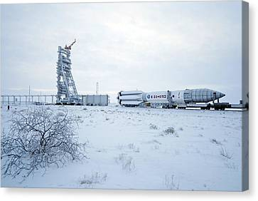 Proton M Rocket Near Its Launch Pad Canvas Print by Ria Novosti