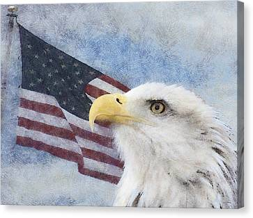 Eagle And Flag Canvas Print - Proud Painterly by Ernie Echols