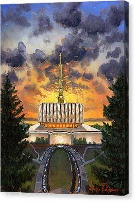 Provo Temple Evening Canvas Print by Jeff Brimley