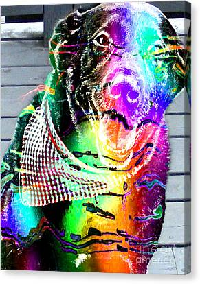 Psychedelic Black Lab With Kerchief Canvas Print by Barbara Griffin