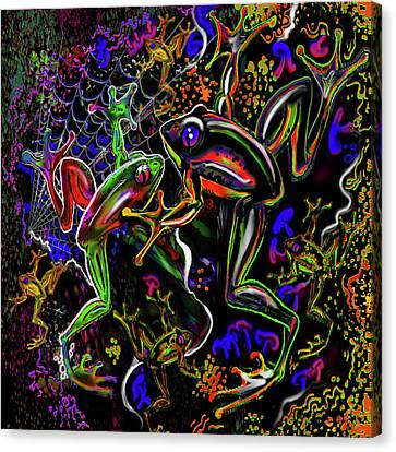 Psychedelic Frogs Canvas Print by Steve Farr