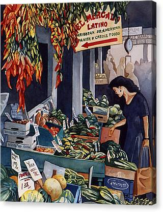Public Market With Chilies Canvas Print