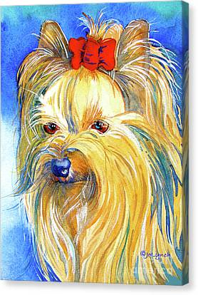 Puddin' Yorkie Yorkshire Terrier Dog Canvas Print by Jo Lynch
