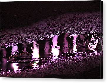 Canvas Print featuring the photograph Puddle In Purple Reflection by Carolina Liechtenstein