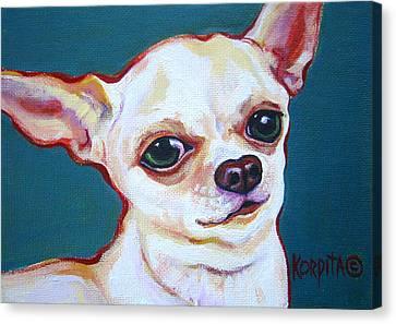White Chihuahua - Puddy Canvas Print by Rebecca Korpita