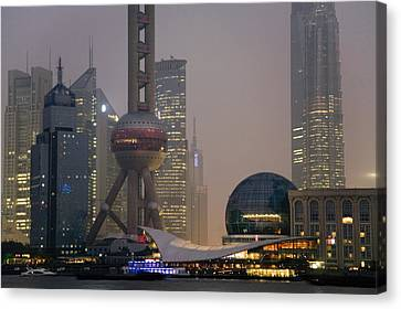 Bund Shanghai Canvas Print - Pudong New Area And Oriental Pearl by Scott S. Warren