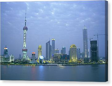 Pudong Skyline, Seen Canvas Print by Justin Guariglia