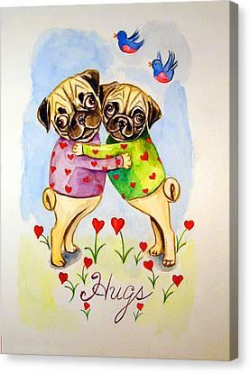 Pug Hugs - Pug Dog Canvas Print by Lyn Cook