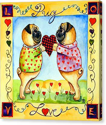 Pug Love Canvas Print by Lyn Cook
