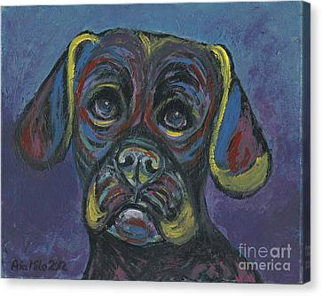 Puggle In Abstract Canvas Print by Ania M Milo