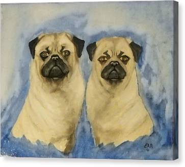 Canvas Print featuring the painting Pugs by Edwin Alverio