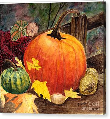 Pumpkin And Gourds Canvas Print by John Small