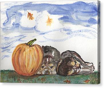 Pumpkin And Puppies Canvas Print by Pamela Wilson