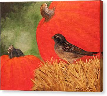 Canvas Print featuring the painting Pumpkins And Sparrow by Janet Greer Sammons