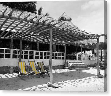 Canvas Print featuring the photograph Punta Mita North Of Puerto Vallarta Mexico Three Amigos Color Splash Black And White by Shawn O'Brien