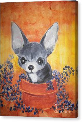 Pup In A Pot 11 Canvas Print