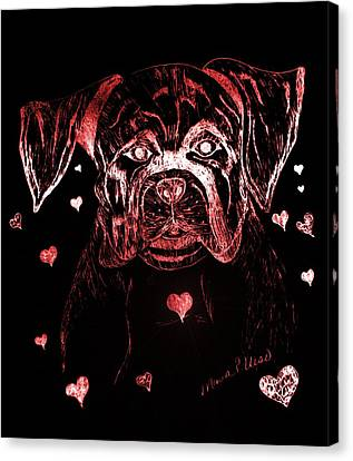 Puppy Love Canvas Print by Maria Urso