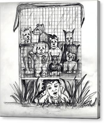 Puppy Mill Discovered Canvas Print by Carol Allen Anfinsen