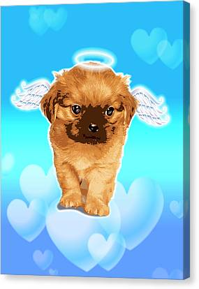 Puppy With Wings And Halo Canvas Print by New Vision Technologies Inc