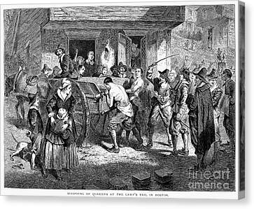 Puritans And Quakers, 1677 Canvas Print by Granger