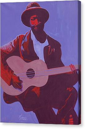 Mucherera Canvas Print - Purple Blues by Kaaria Mucherera
