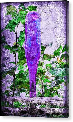 Purple Bottle Triptych 2 Of 3 Canvas Print by Andee Design