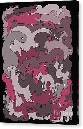 Purple Creatures Canvas Print by Barbara Marcus