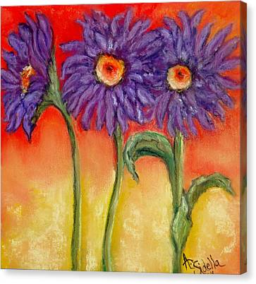 Purple Daisies Canvas Print by Annamarie Sidella-Felts