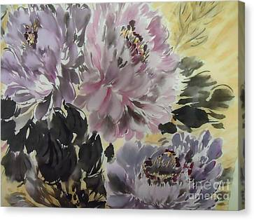 Canvas Print featuring the painting Purple Dark Peony by Dongling Sun