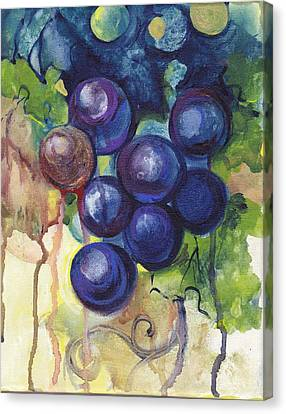 Purple Grapes II  Canvas Print by Peggy Wilson