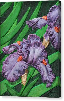 Purple Iris Flowers Sculpture Canvas Print by Valerie  Evanson