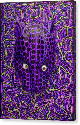 Purple Jaguar Head Canvas Print