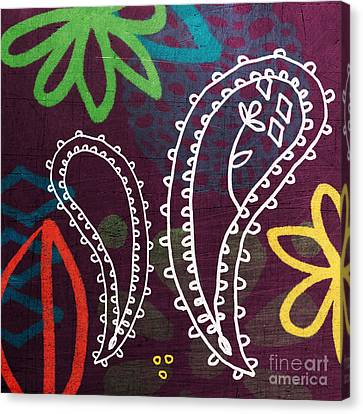 Purple Paisley Garden Canvas Print by Linda Woods