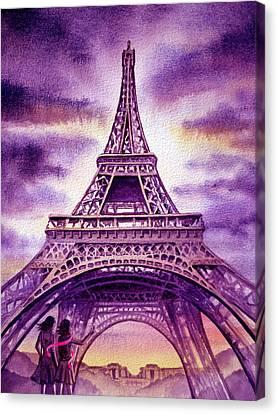 Purple Paris Canvas Print by Irina Sztukowski