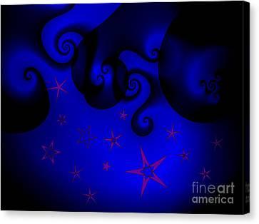 Purple Stars On Blue Swirls Planet Canvas Print by Jeannie Atwater Jordan Allen