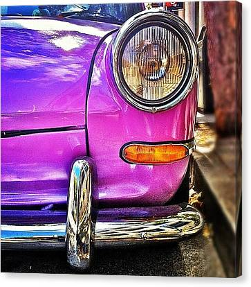 Purple Vw Bug Canvas Print by Julie Gebhardt
