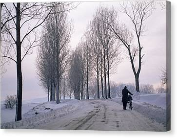 Pushing A Bike Along A Snow Covered Canvas Print by Gordon Wiltsie