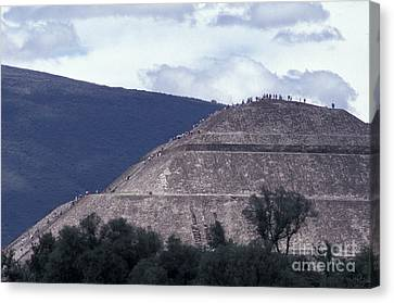 Canvas Print featuring the photograph Pyramid Climbers Teotihuacan Mexico by John  Mitchell