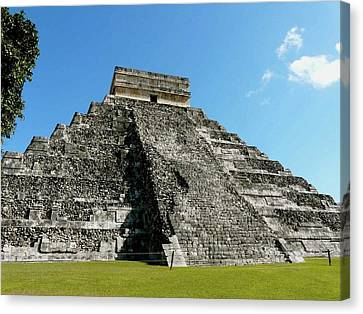 Pyramid Of Kukulcan Canvas Print by Cute Kitten Images