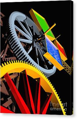 Pythagorean Machine Portrait 4 Canvas Print by Russell Kightley