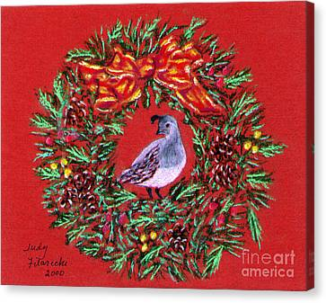 Quail Holiday Greeting Card Canvas Print by Judy Filarecki