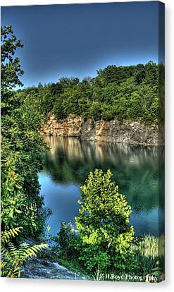 Quarry Of Reflections 2 Canvas Print by Heather  Boyd