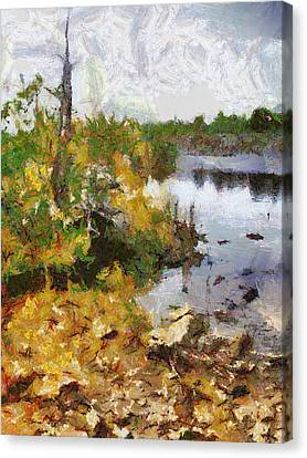 Canvas Print featuring the painting Quarry View by Mario Carini