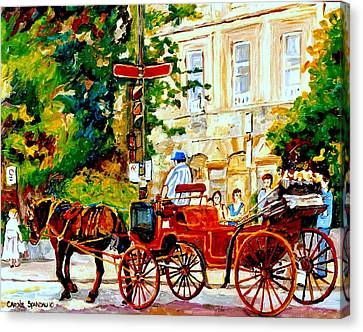 Quebec City Street Scene The Red Caleche Canvas Print by Carole Spandau