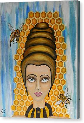 Queen Bee And The Nectar Of The Gods Canvas Print by Claudia Tuli