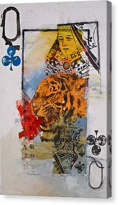Canvas Print featuring the painting Queen Of Clubs 4-52  2nd Series  by Cliff Spohn
