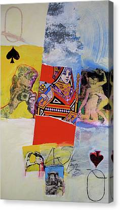 Canvas Print featuring the mixed media Queen Of Spades 45-52 by Cliff Spohn