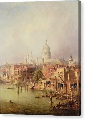 Queenhithe - St. Paul's In The Distance Canvas Print by F Lloyds