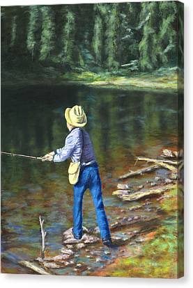 Queo Fishing At 10000 Ft Above Penasco Nm Canvas Print