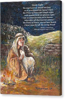Canvas Print featuring the painting Quiet Night With Poem by George Richardson